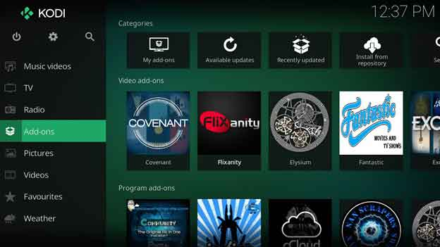 how to change add ons on kodi home screen